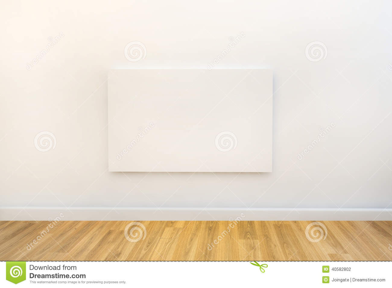 single blank canvas hanging on a white gallery or studio