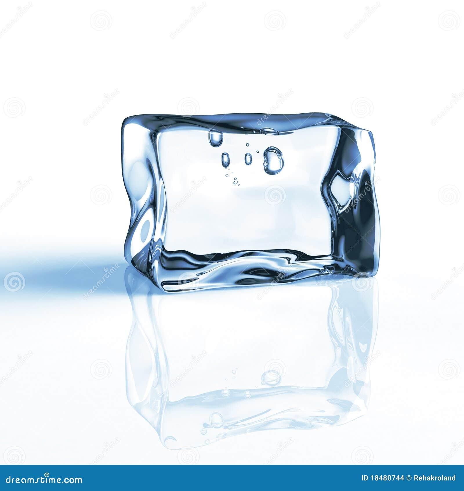 Single blue ice cube Stock Single Ice Cube