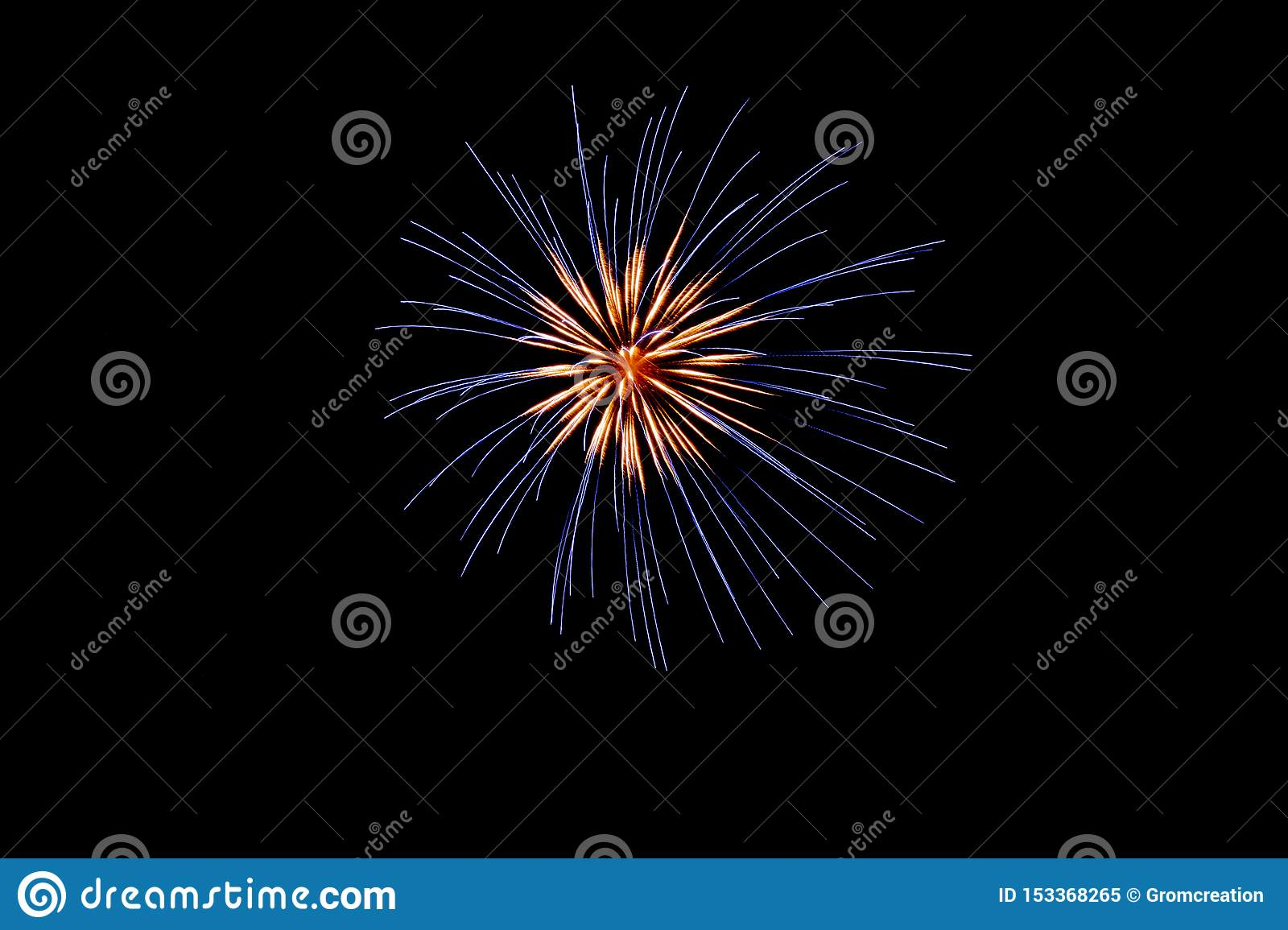 Blue and white pyrotechnic fireworks in the night