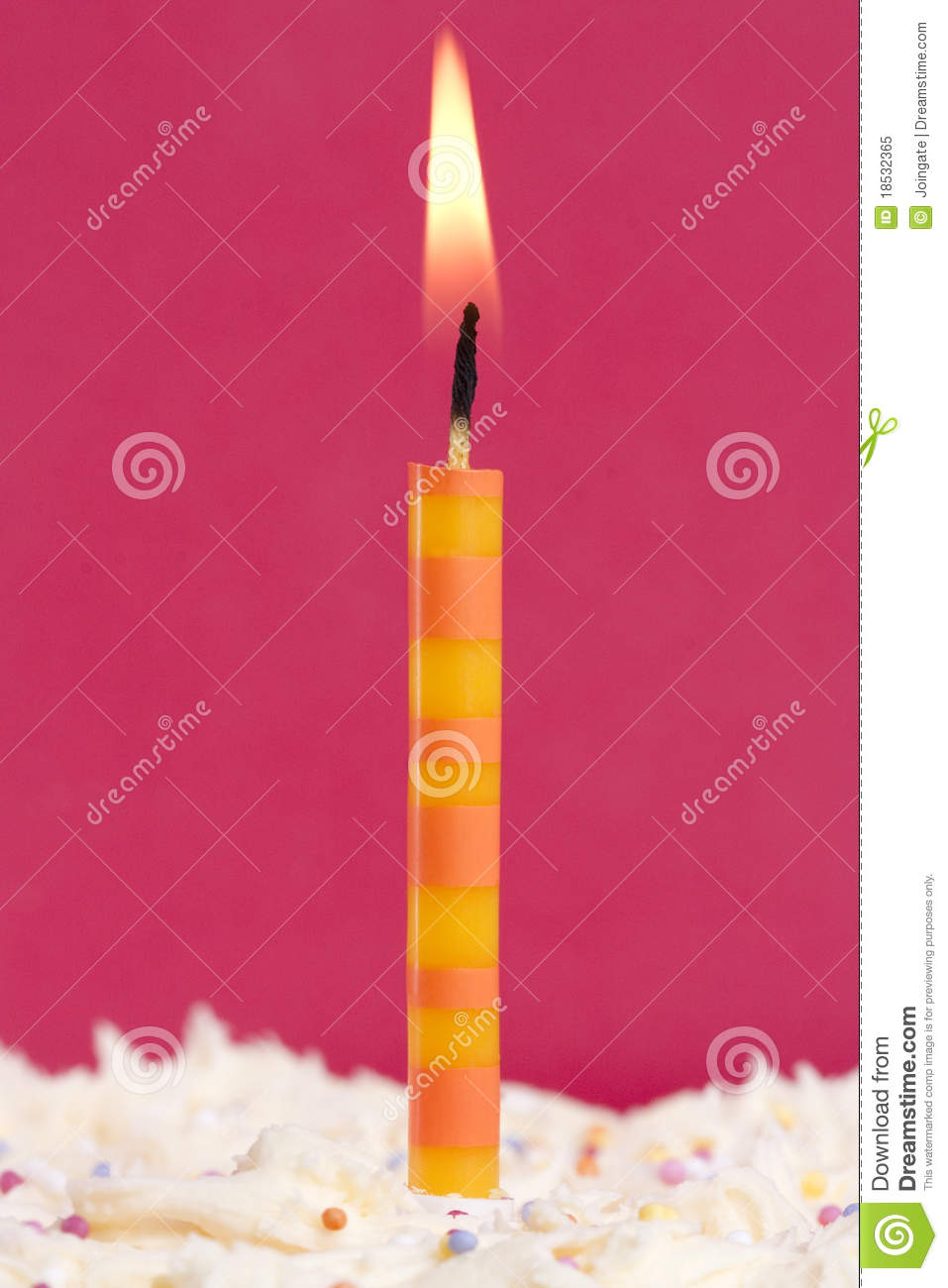 Download Single candle on a cake stock image. Image of macro, first - 18532365
