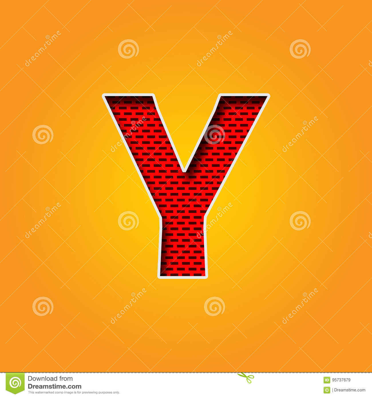 Single Character Y Font In Orange And Yellow Color Alphabet Stock ...