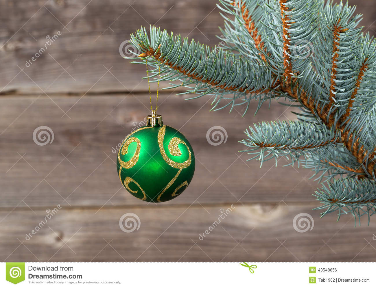Single christmas ornament hanging from blue spruce branch