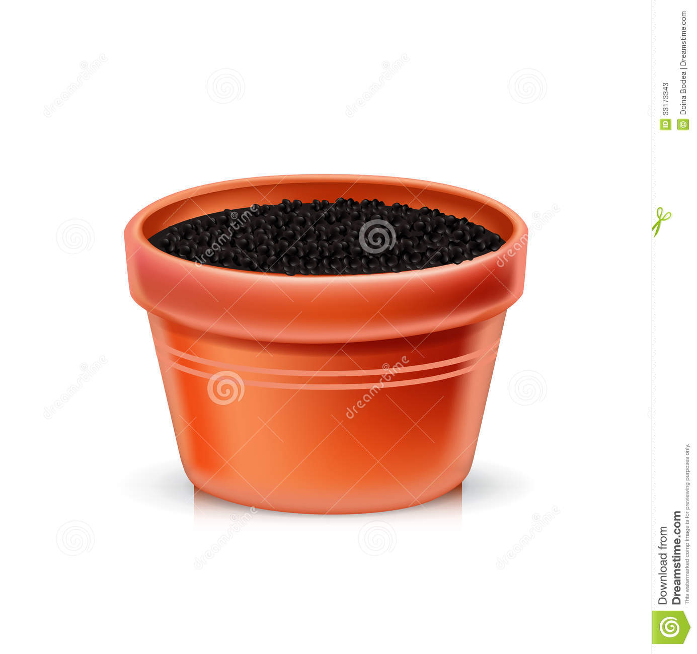 Single clay pot with soil stock vector image of ground for Clay potting soil