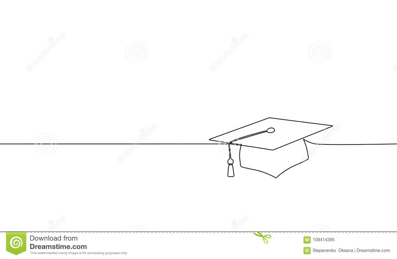 Single continuous line art graduation cap. Celebration ceremony master degree academy graduate design one sketch outline