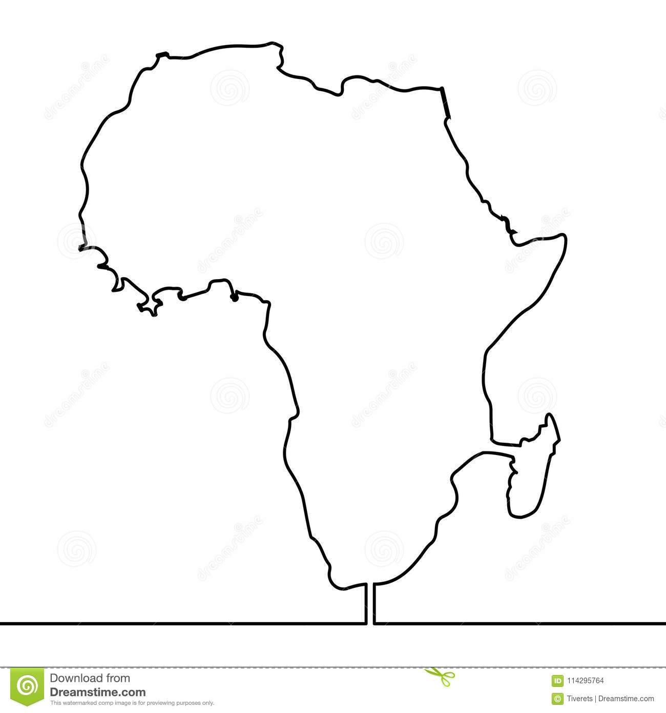 Map Of Africa Drawing.Single Continuous Line Art Map Of Africa Vector Stock Vector