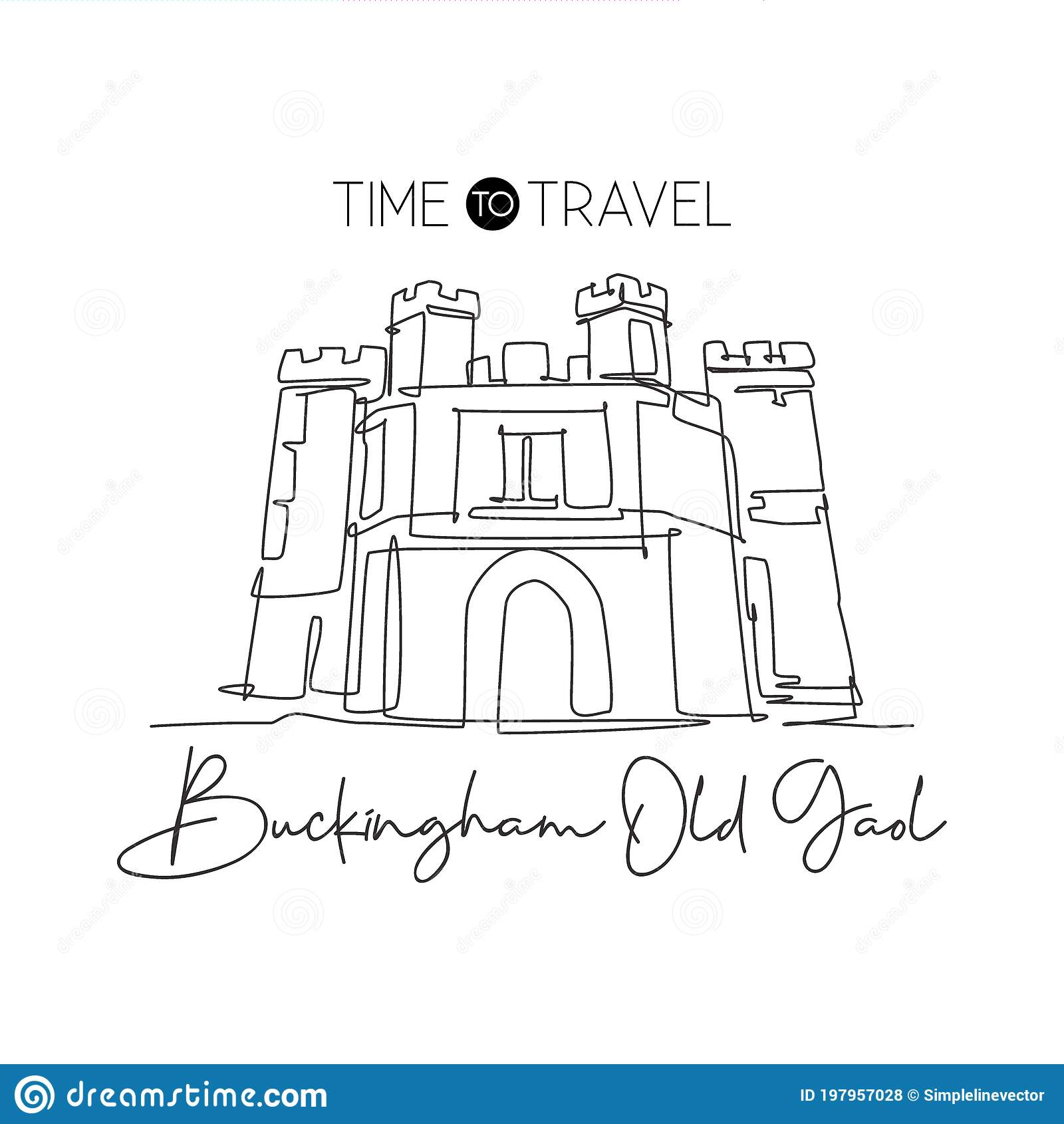Single Continuous Line Drawing Buckingham Old Gaol Famous Museum In Buckinghamshire England World Travel Home Decor Wall Art Stock Vector Illustration Of Home England 197957028