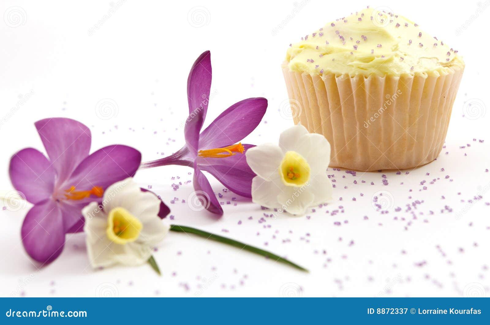 Single Cupcake With Purple Sprinkles Royalty Free Stock ...