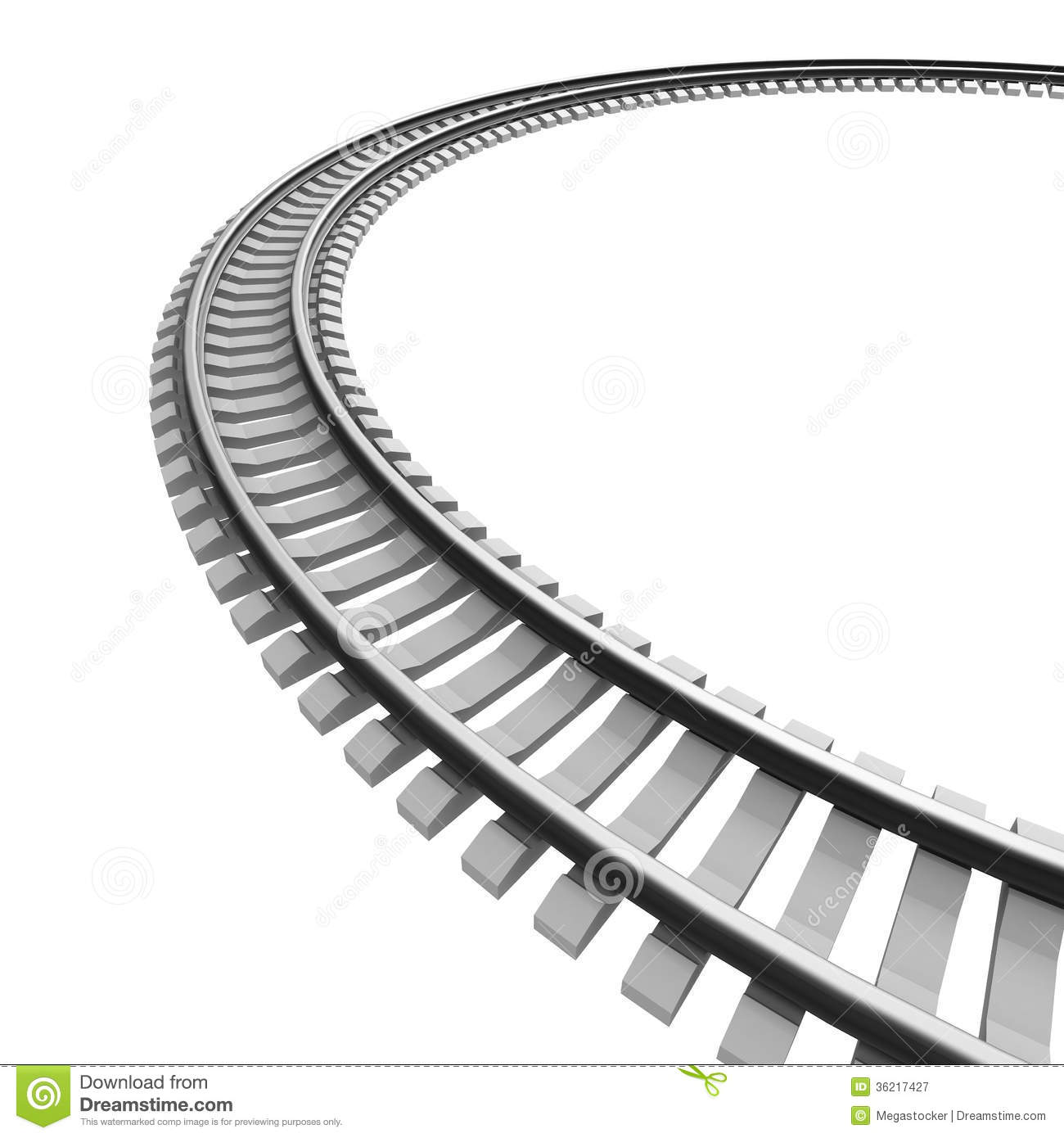 single curved railroad track isolated stock illustration