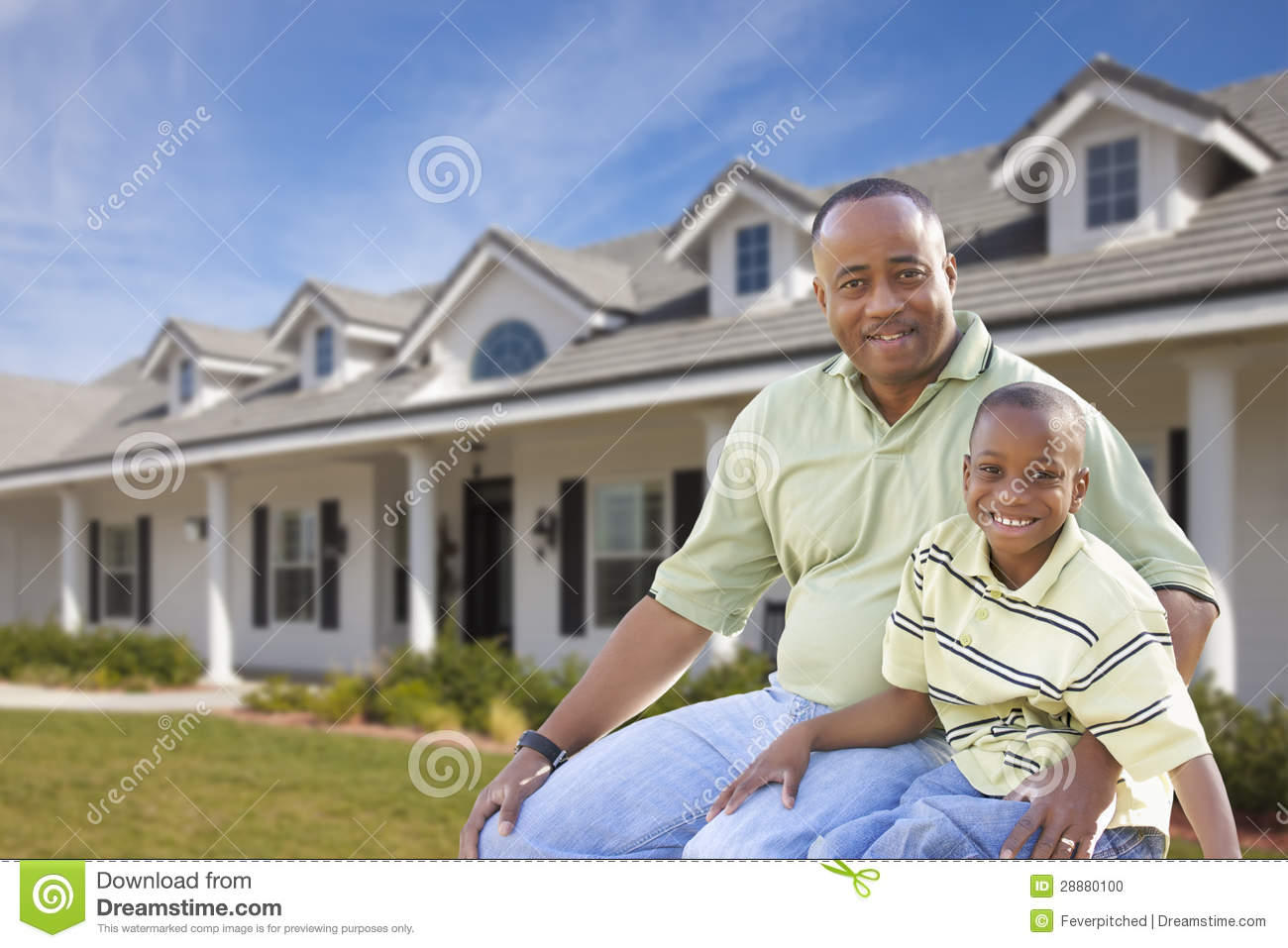 Single Dad and Son In Front of Home