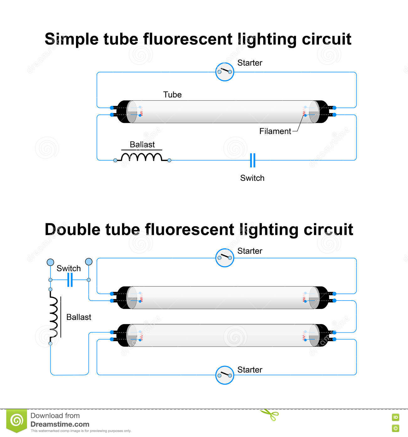 single and double tube fluorescent lighting circuit stock