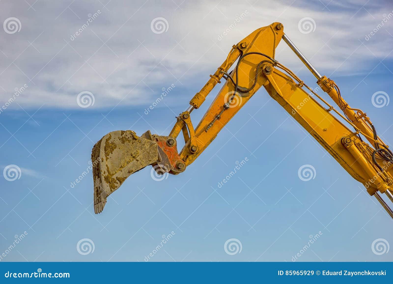 Single excavator boom arm stock image  Image of action