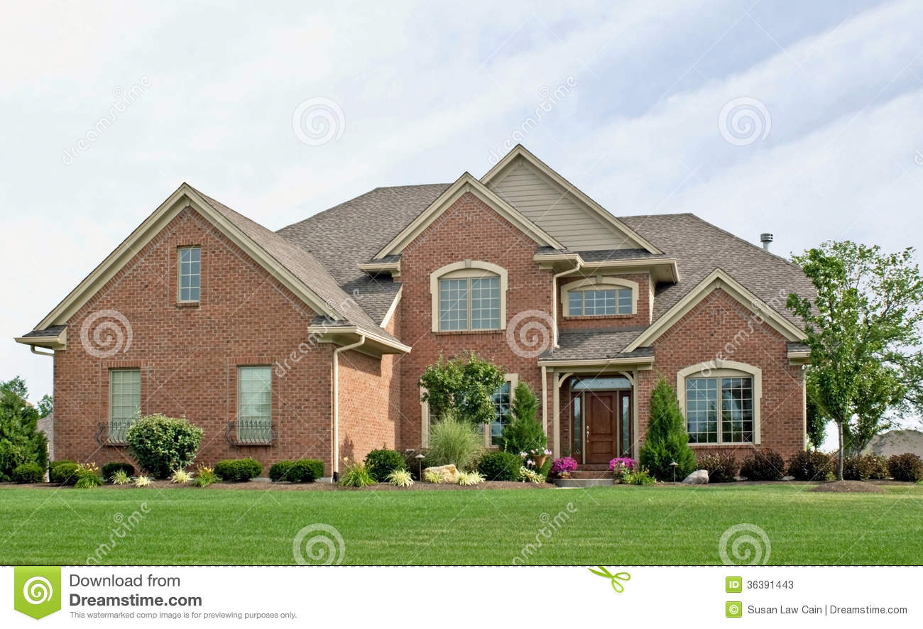 Single Family Brick Home Stock Image Of Landscaped
