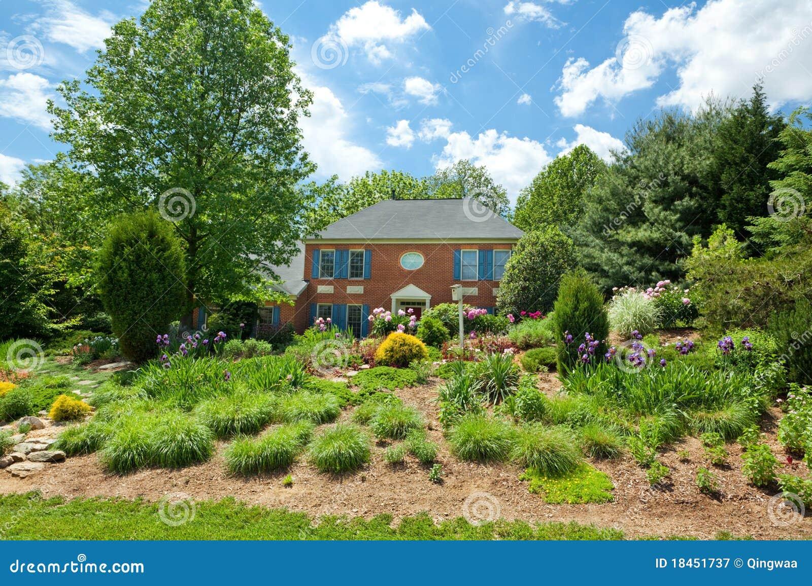 Single House Home Flower Landscaped Garden