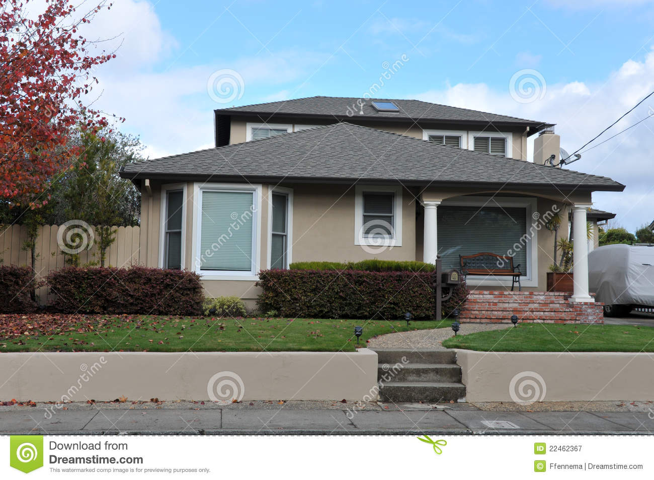 Single Family House One Story With Walkway Royalty Free Stock Photography Image 22462367