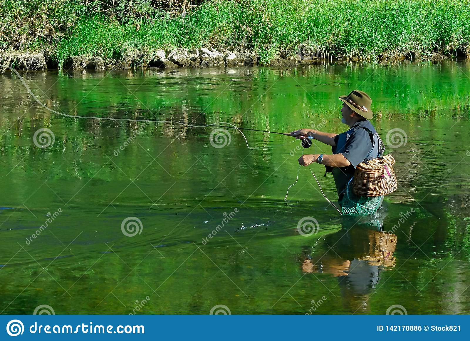 Fly fisherman in the river after Trout