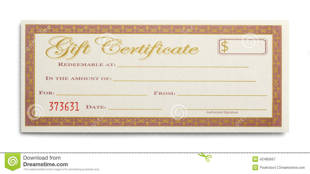 Single Gift Certificate Stock Image Image Of Coupon 42485667