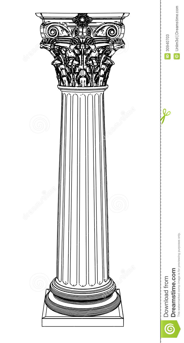 Single Greek Column Isolated On White Stock Vector Image