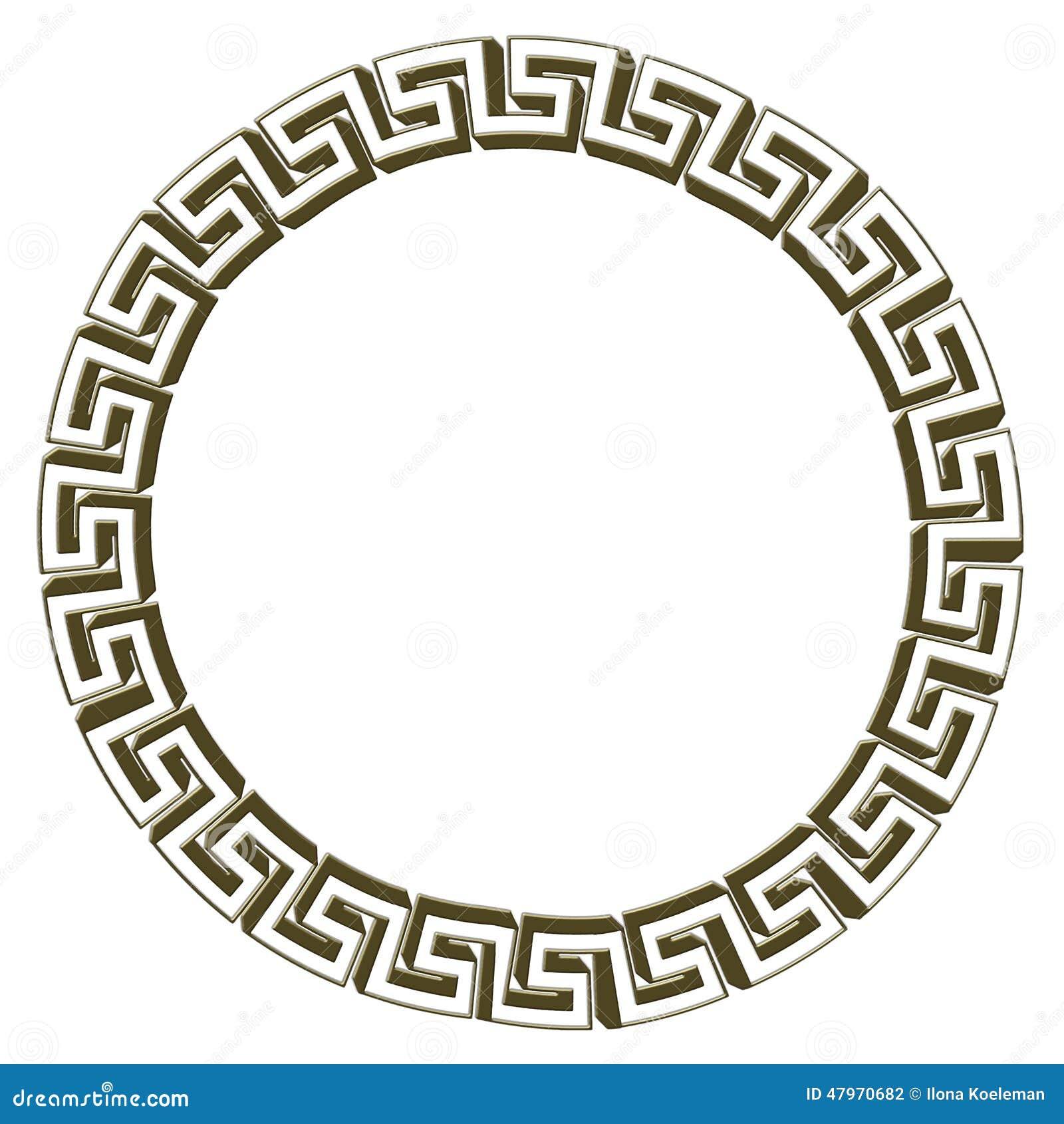 Single Greek Key Circle Gold Stock Illustration