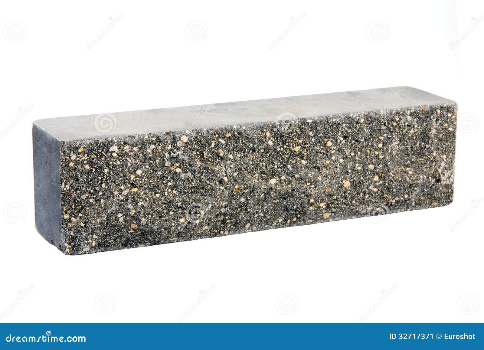 Single Grey Brick Isolated On White Background