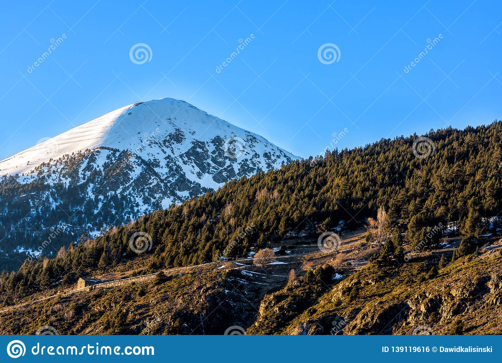 Single high mountain with pick in snow, blue sky and green forest in front, Andorra, Pyrenees