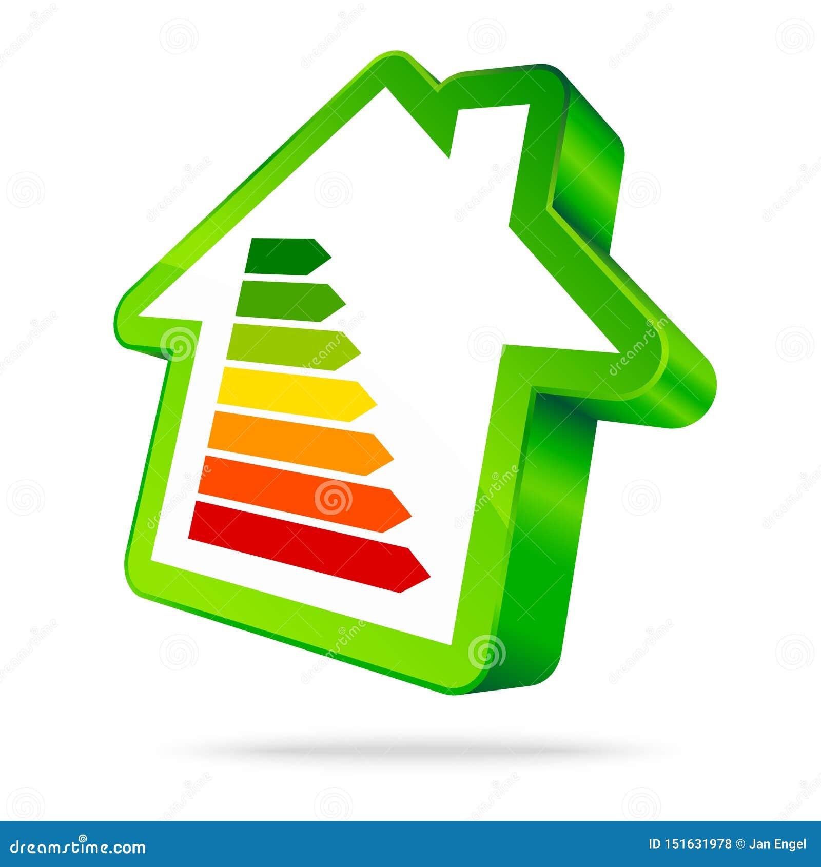 Single Green House Icon Energy Seven Bars Green