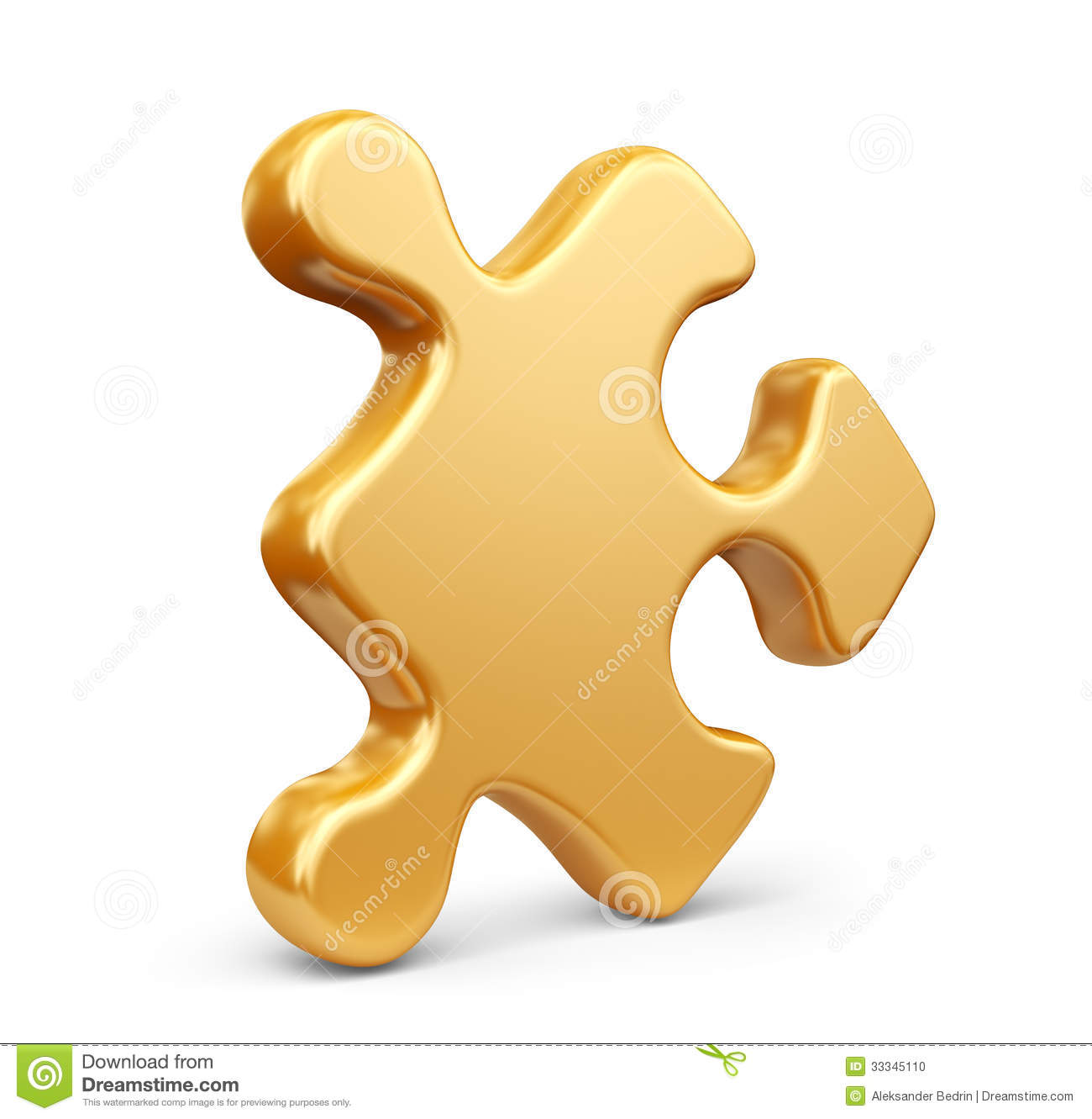 Single Jigsaw Puzzle Piece 3D Icon Isolated Stock Photo