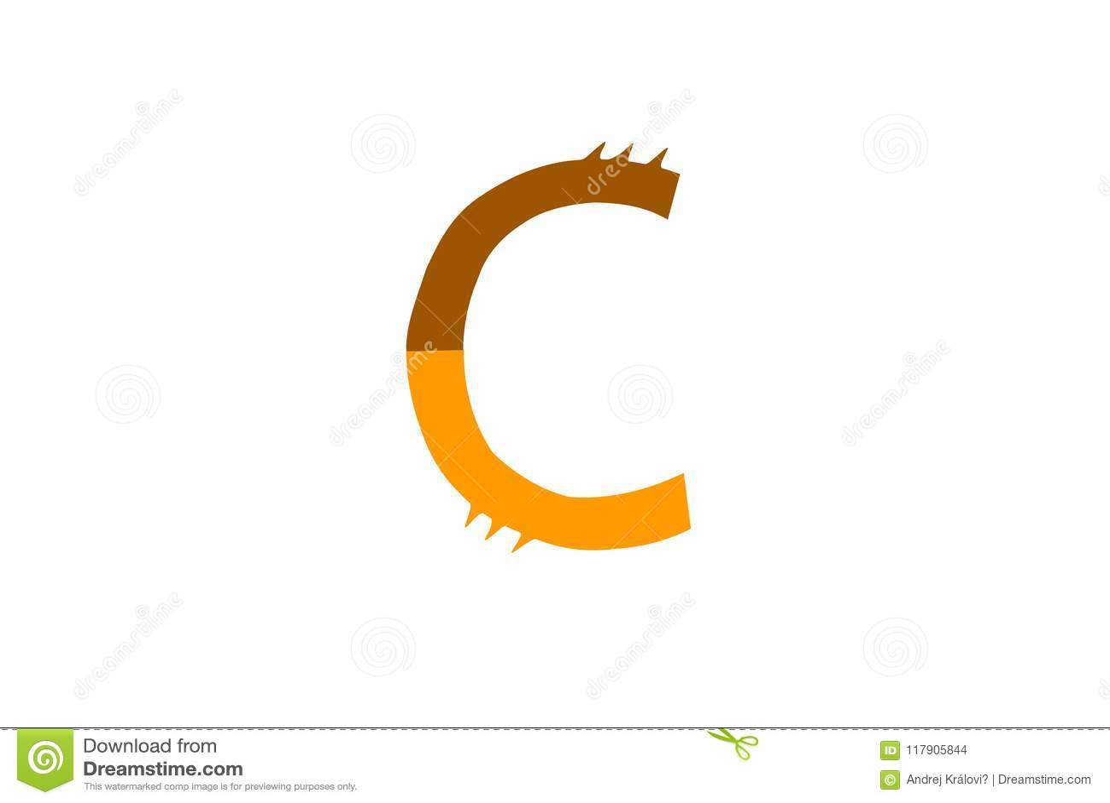 Letter Of Alphabet C Cog Design On White Backdrop Stock Vector