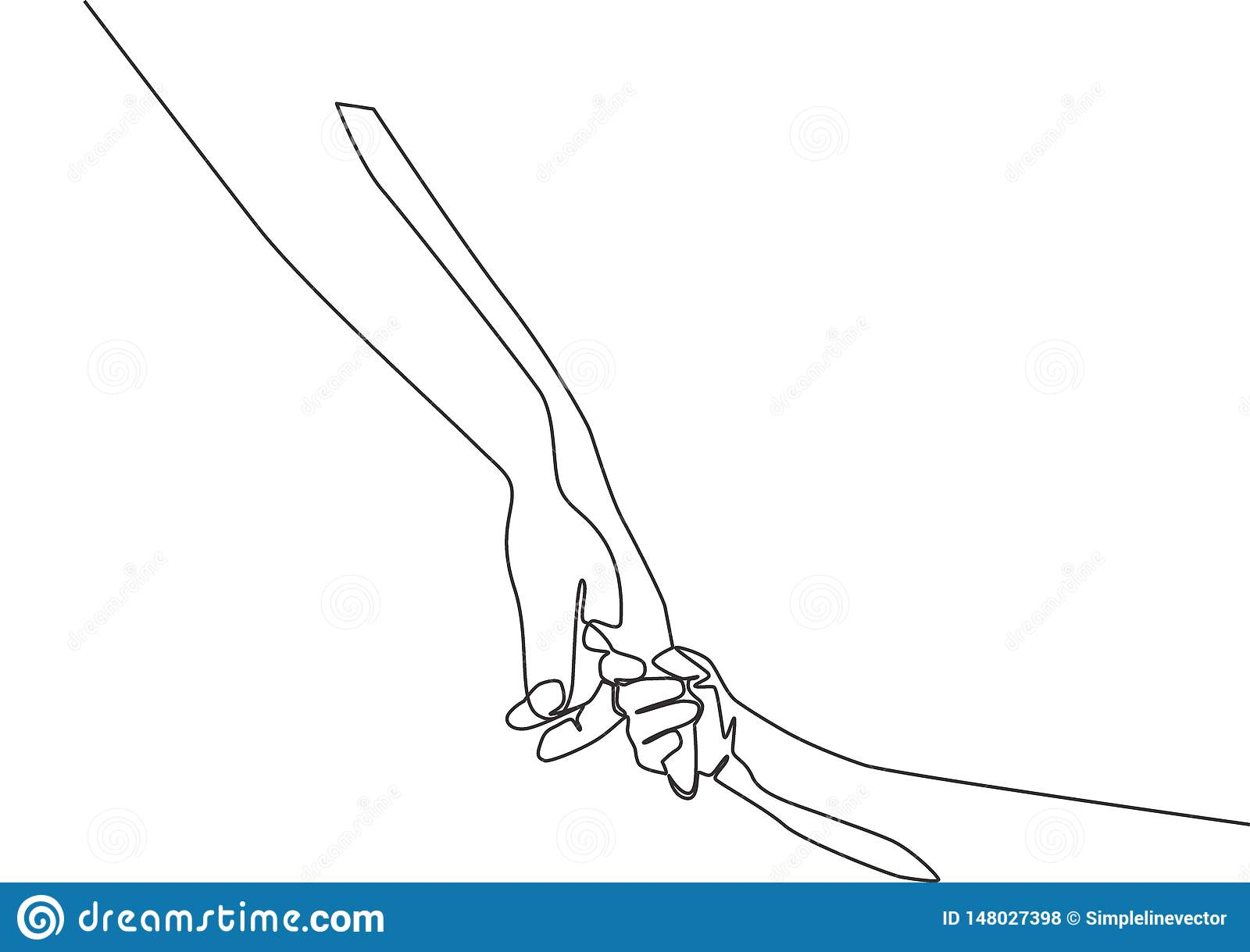 Single Line Draw Of Father Giving Hand To His Child Mother