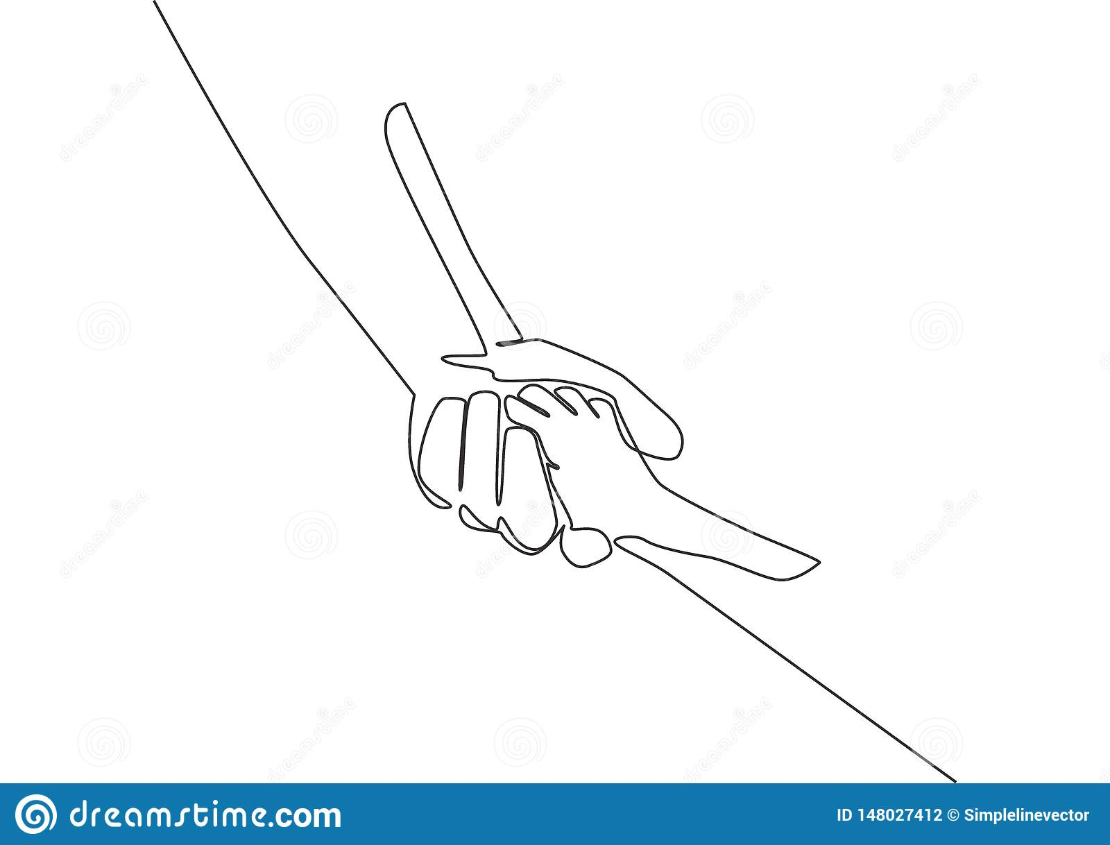 Single line draw of father giving hand to his child. Mother care in continuous line drawing design style