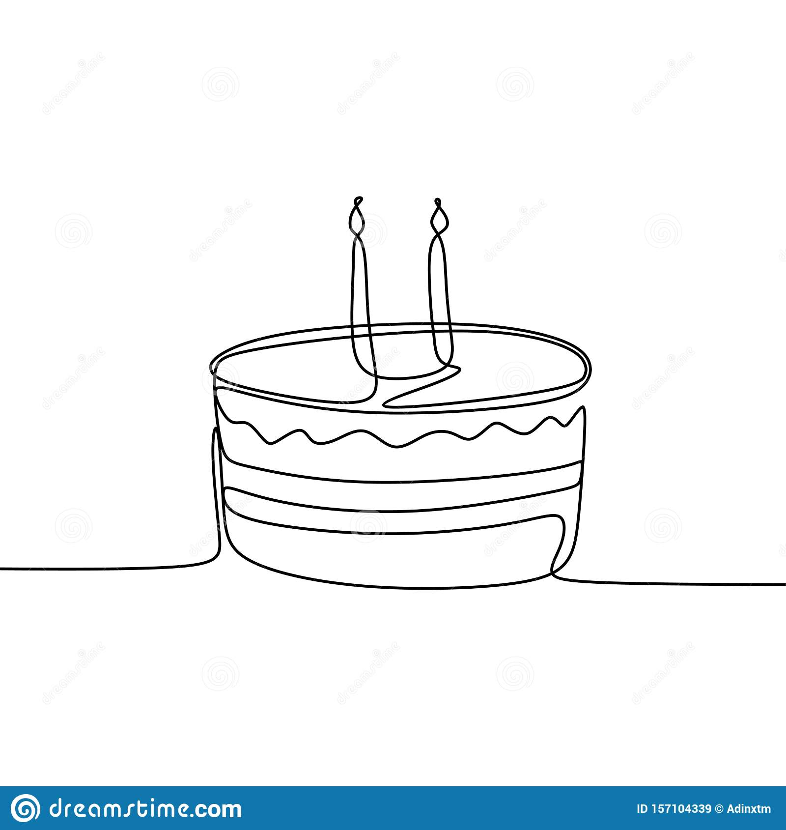 Excellent Single Line Drawing Birthday Cake Minimalism Design Vector Funny Birthday Cards Online Eattedamsfinfo