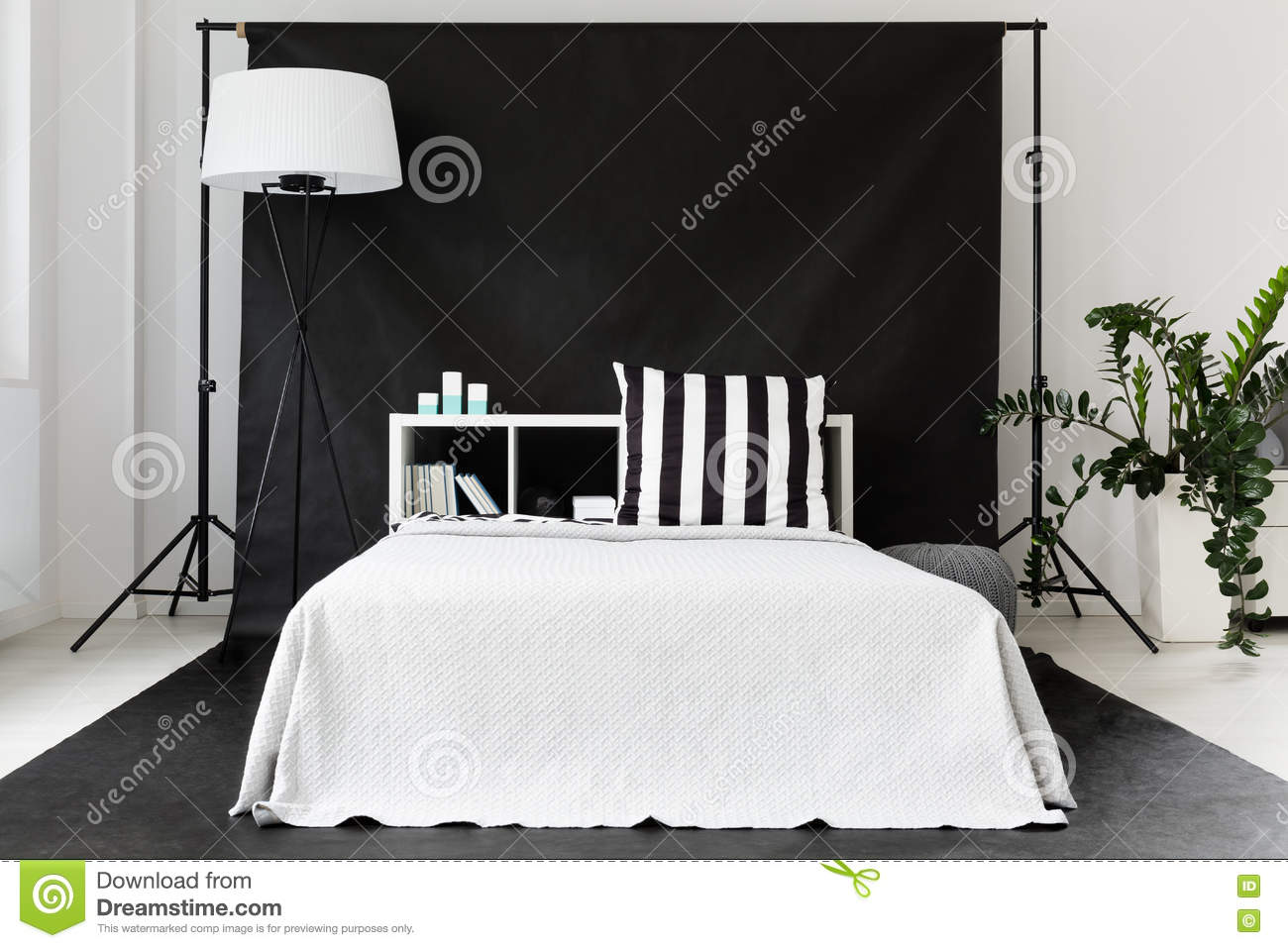 Single Man Bedroom Idea Stock Image Image Of White Clean 76847379