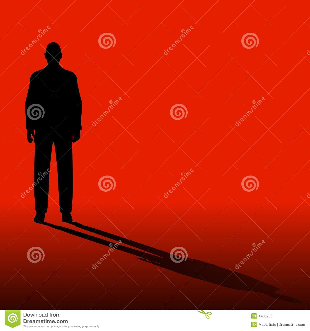 Single Man On Red With Shadow