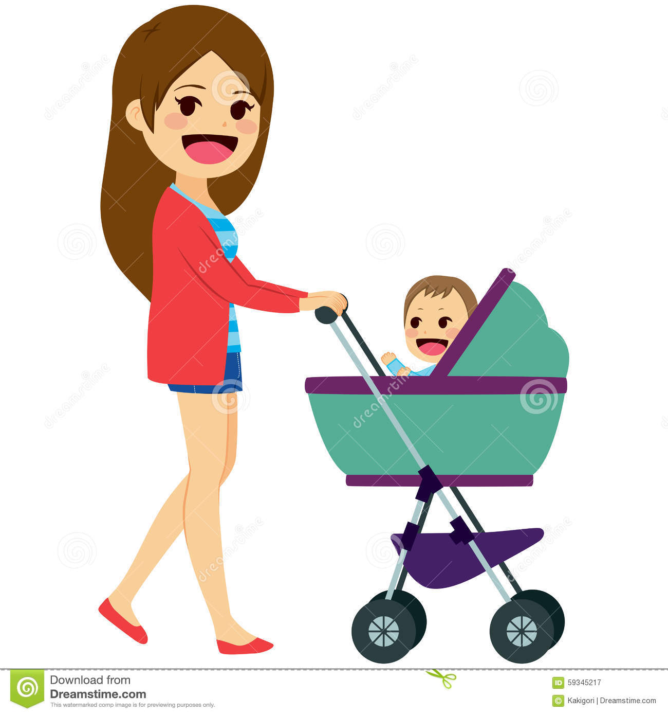 single mom pushing stroller stock vector image 59345217 Pregnant Lady On Phone Pregnant Women