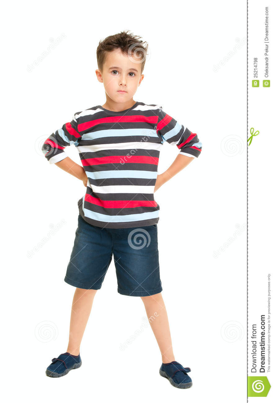 Single Naughty Little Boy Standing Royalty Free Stock