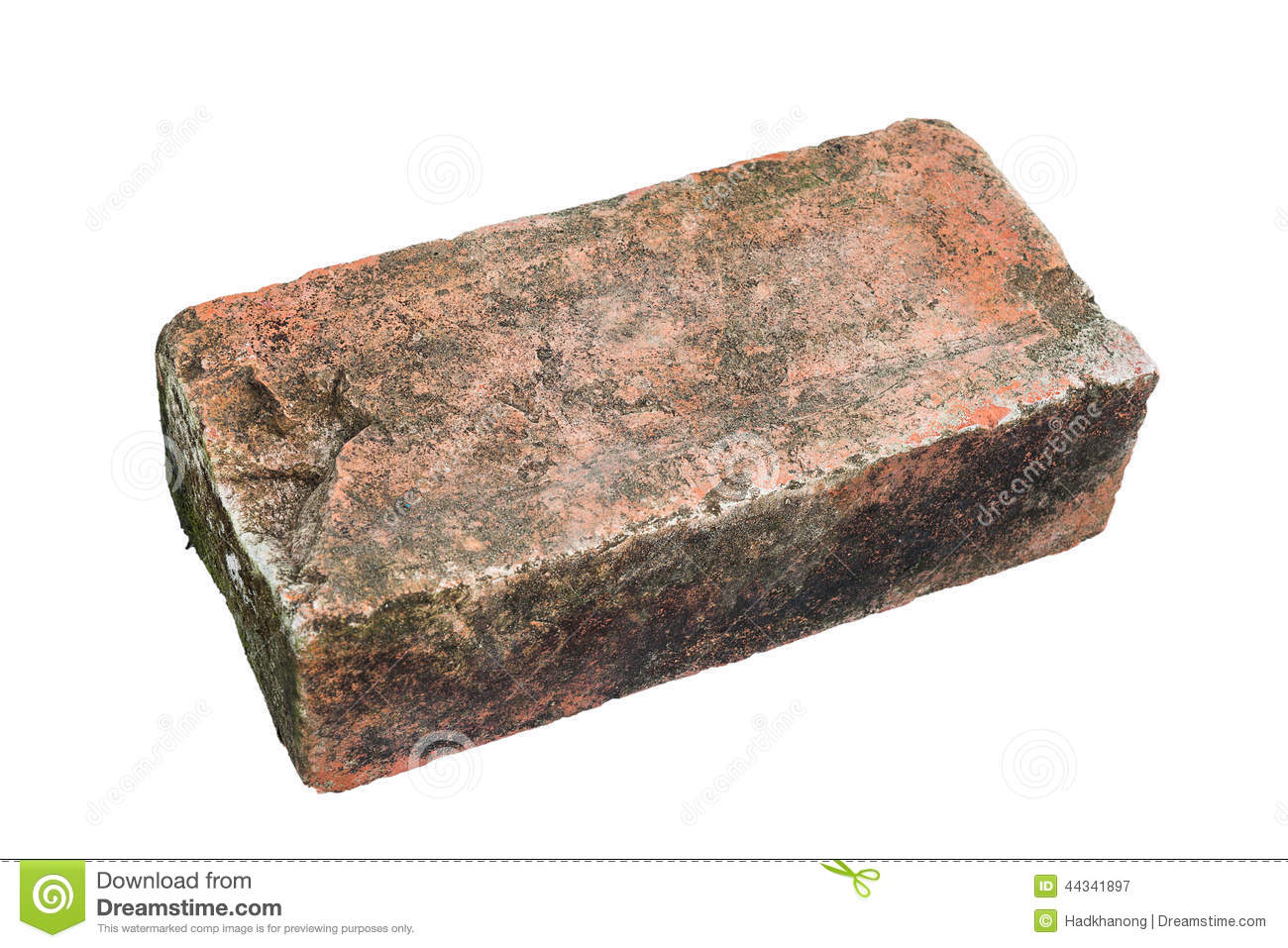 Single Old Red Brick On White Background