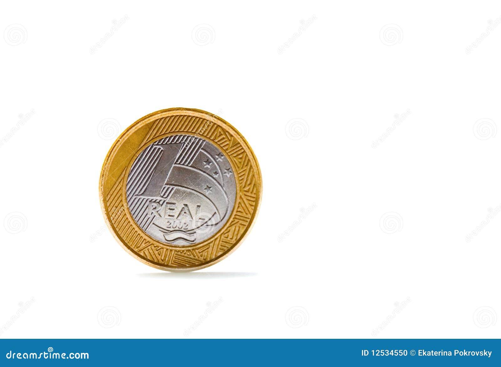 Single one Brazilian real coin