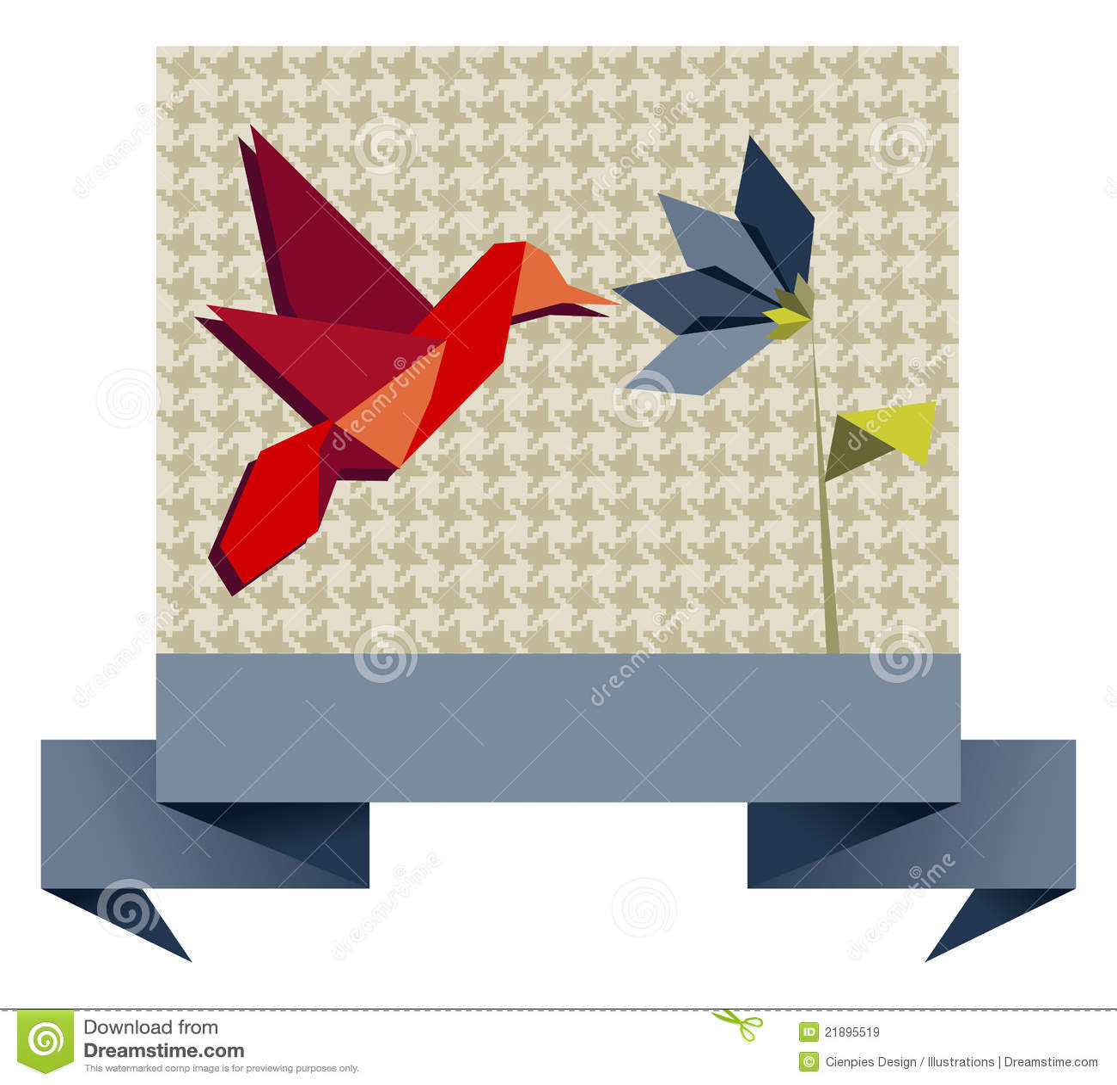Single Origami Hummingbird Over Textile Pattern Stock ... - photo#2