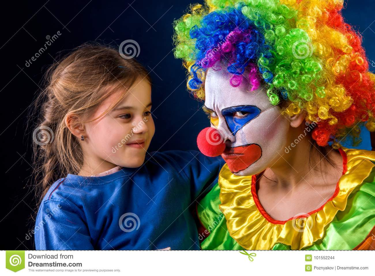 Single parent family. Mom after work birthday clown .Adult child relationship.