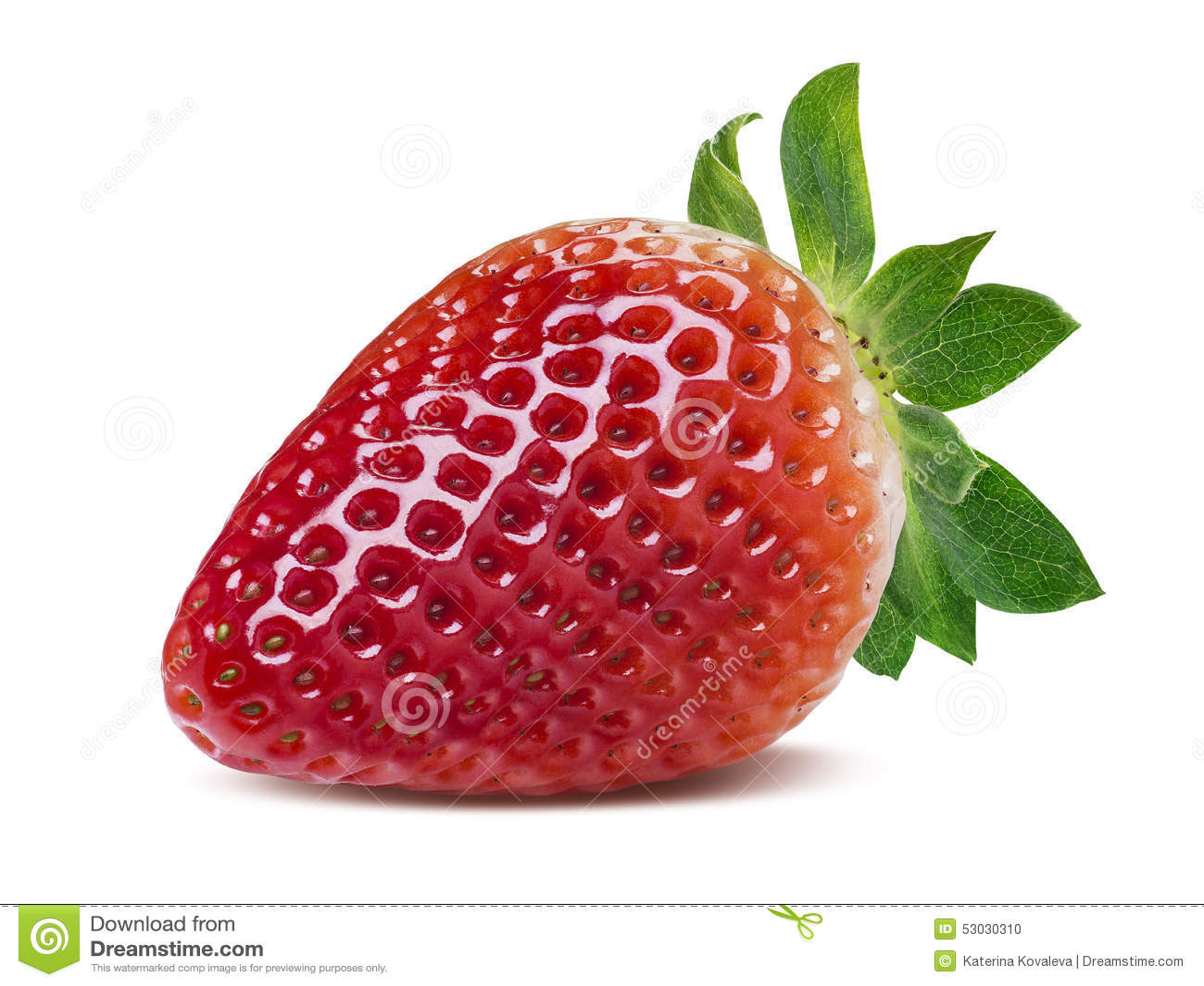 single perfect strawberry isolated on white background