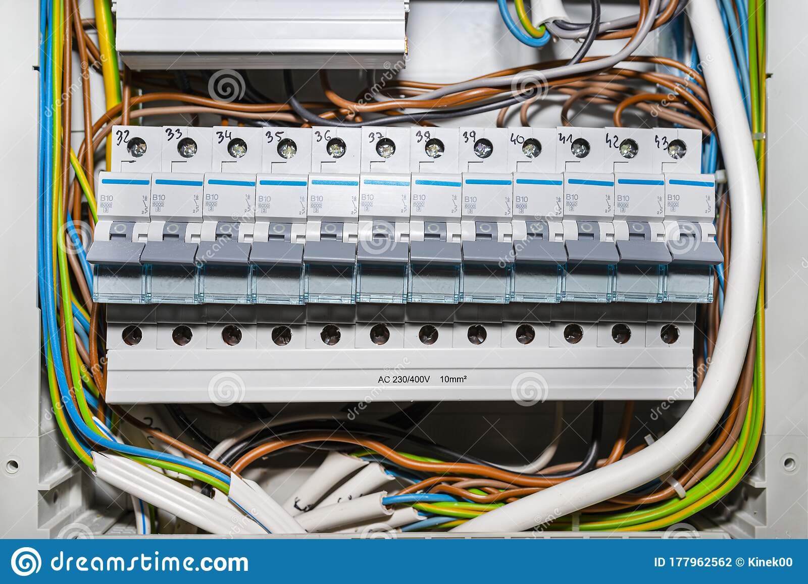 Single Phase Fuses In The Off Position Placed In The Home Fuse Box Visible Electric Wires Stock Photo Image Of Board Breakers 177962562