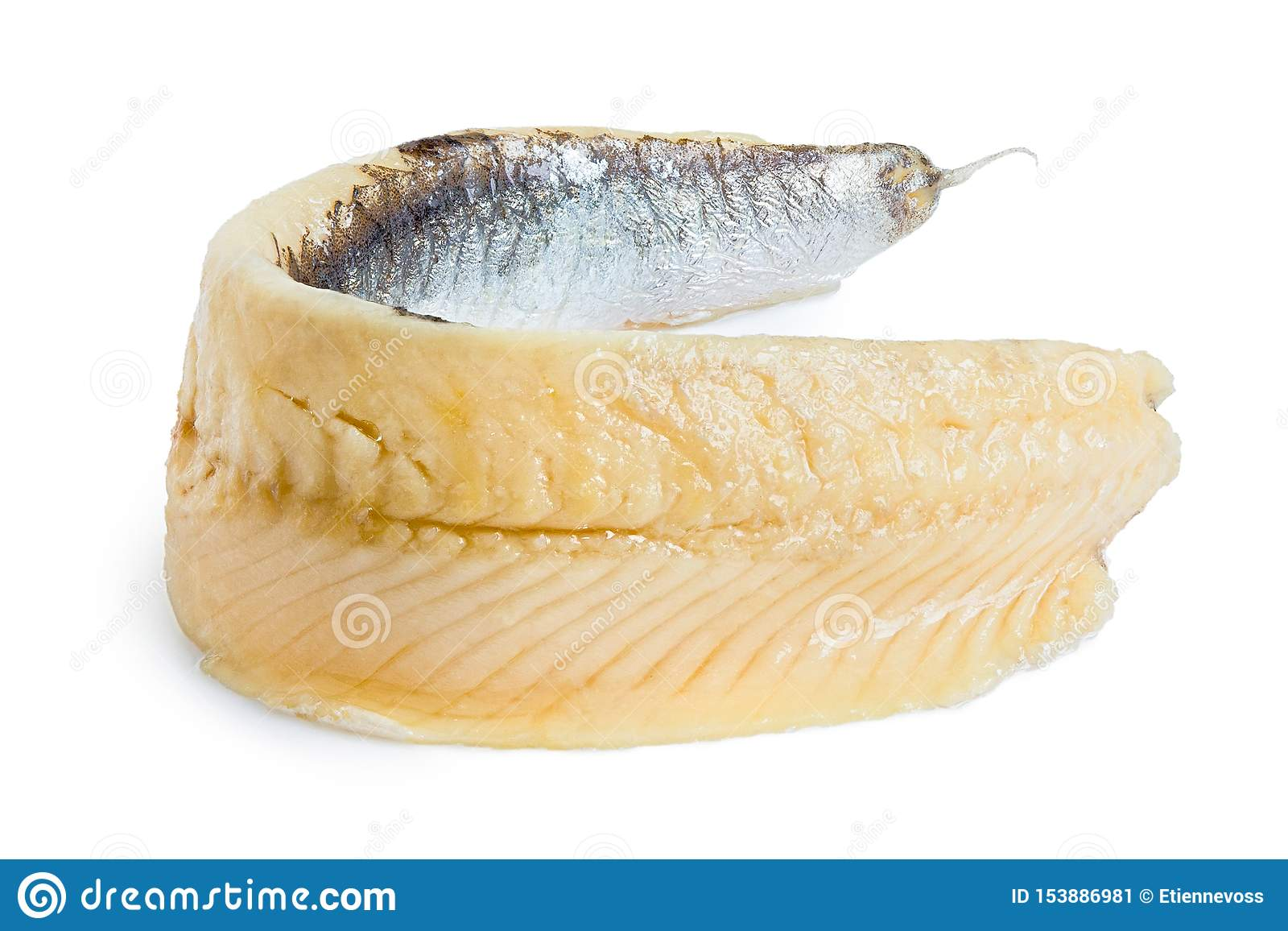 A single piece of anchovy fillet isolated on white