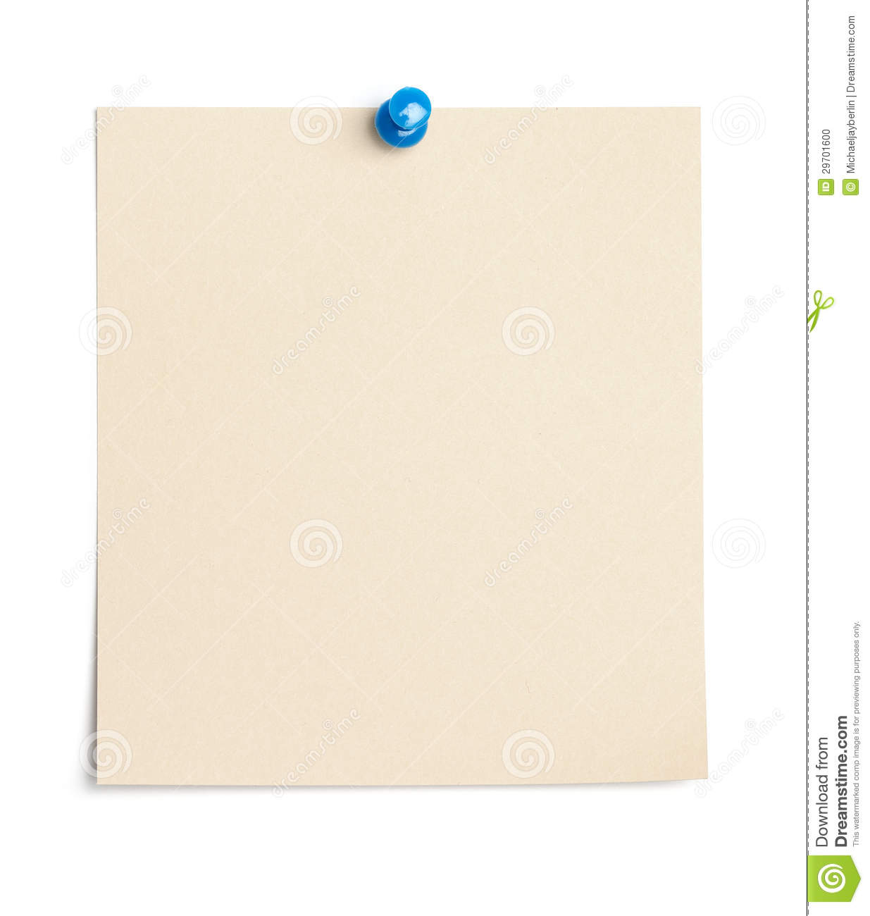 Single piece of paper empty for copy space pinned with a thumb tack