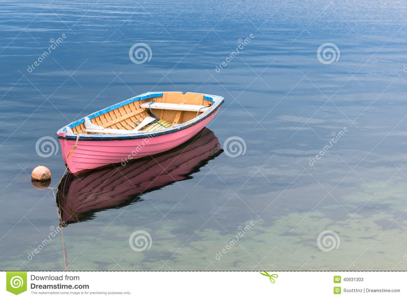 A Single Pink Boat In Clear Blue Water Stock Image - Image of aqua, wood: 40931303