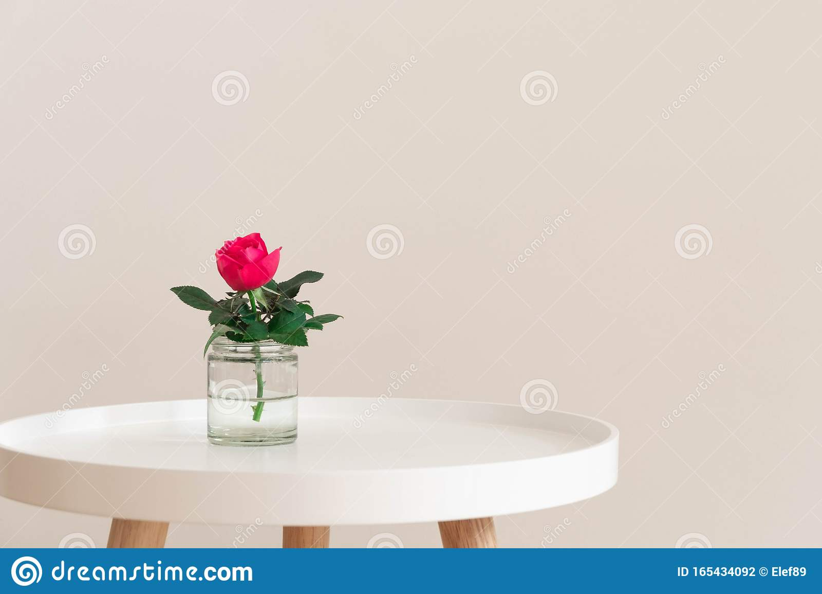 Single Pink Rose In A Glass Vase On A Small White Coffee Table On Neutral Wall Background Stock Photo Image Of Blossom Modern 165434092