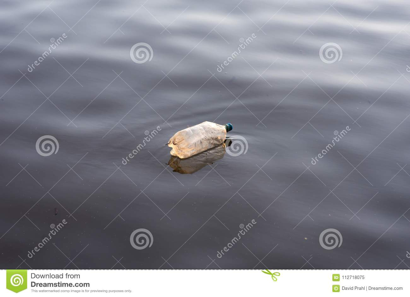 Single plastic water bottle litter floating in lake water