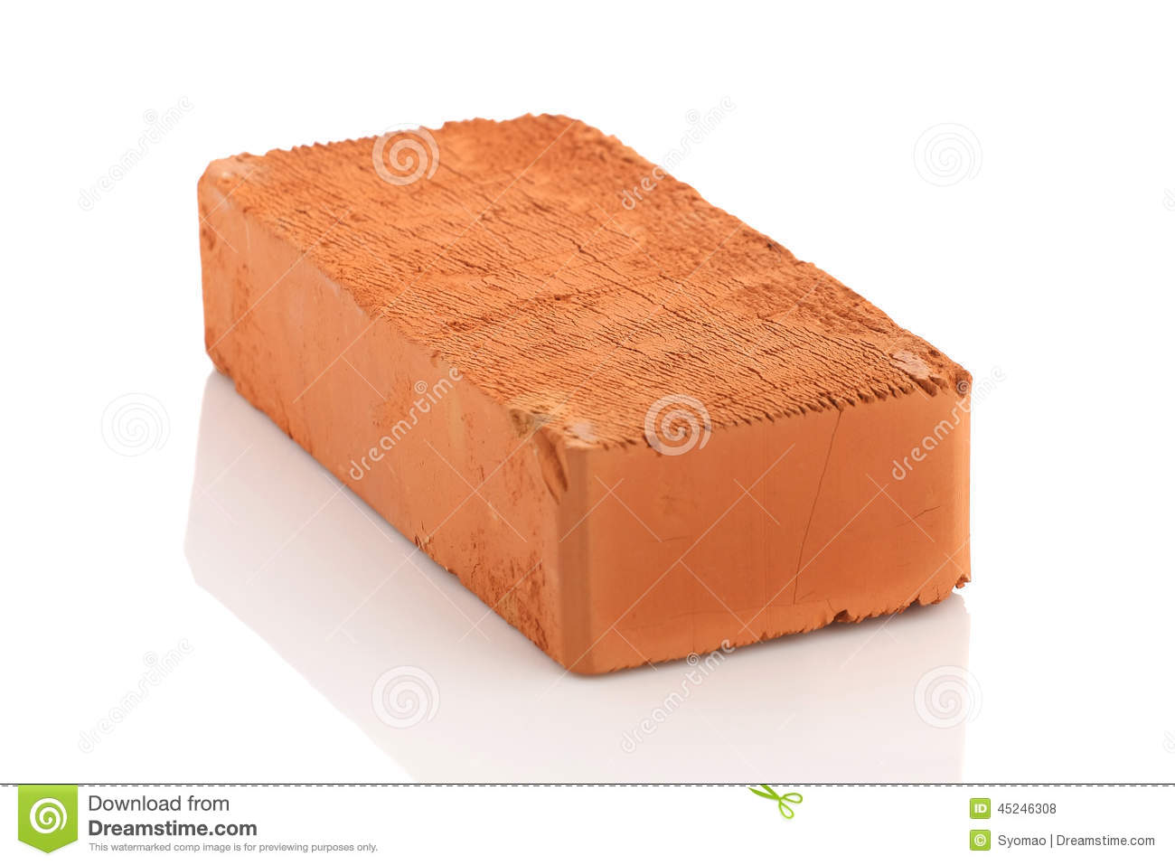 Single red brick on white background stock photo image for What to do with bricks