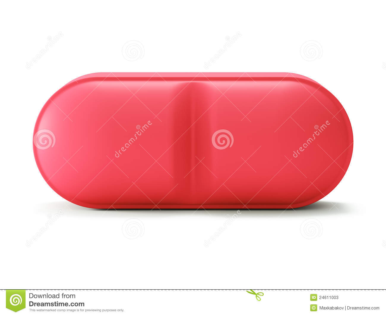 Single Red Pill On White Stock Photos - Image: 24611003