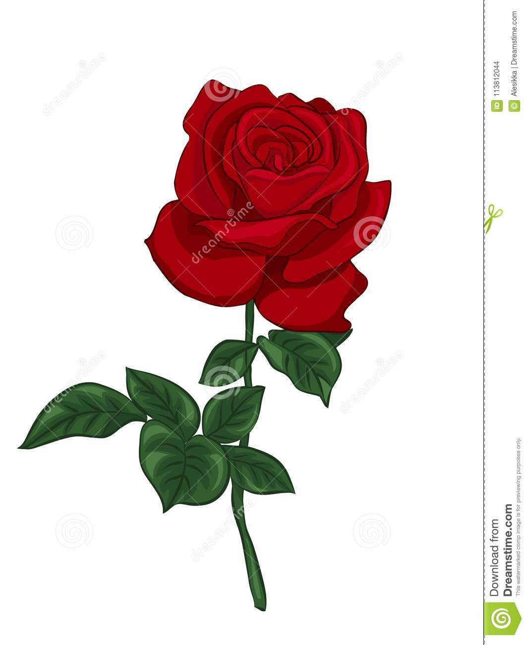 Single Red Rose Stock Vector Illustration Of Gift Design 113812044