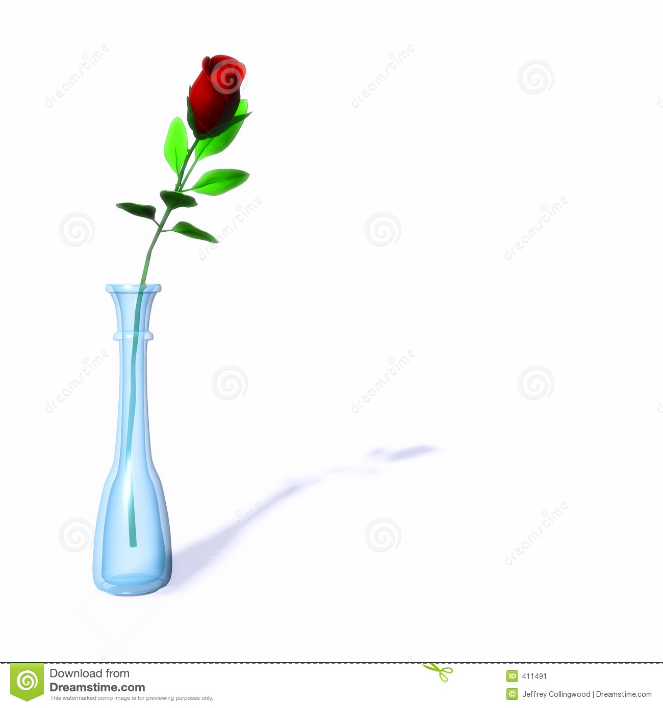 Single Red Rose In A Vase Stock Image Image 411491