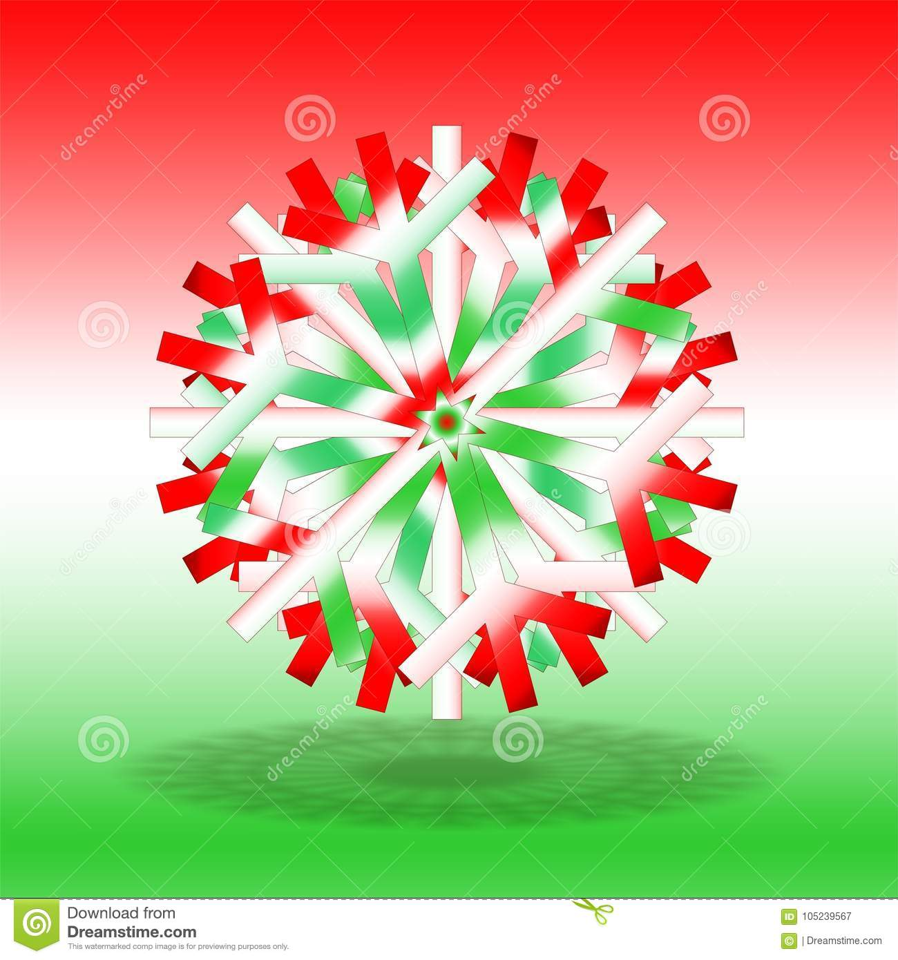 A Single Red White Green Christmas Star With A Shadow On Bottom On